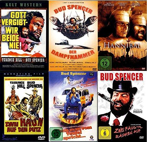 BUD SPENCER & TERENCE HILL - Film Paket (6 Filme Box - Gott vergibt, wir beide nie - Der Dampfhammer - Hannibal - Zwei haun auf den Putz - Wenn man ... spricht - Zwei Fäuste räumen auf ) [6 DVDs]