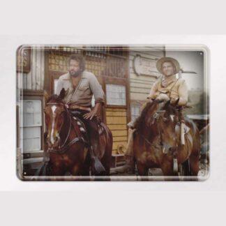 Brüder auf Pferd / Vier Fäuste für ein Halleluja - Blechschild