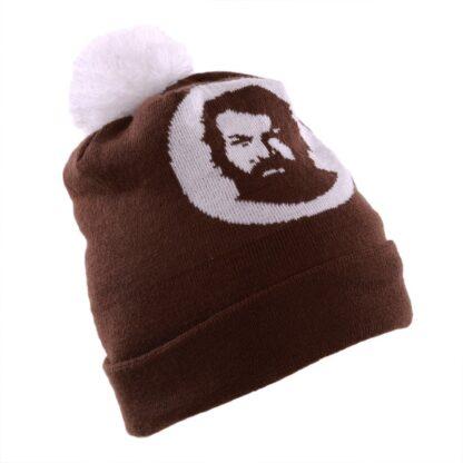 Bud Spencer Mütze mit Umschlag und Bommel (braun)