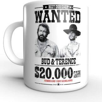 Wanted $20.000 - Die rechte und die linke Hand des Teufels - Terence Hill und Bud Spencer - Tasse rund (330ml)